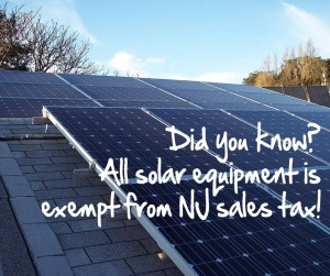 All solar equipment is exempt from NJ sales tax