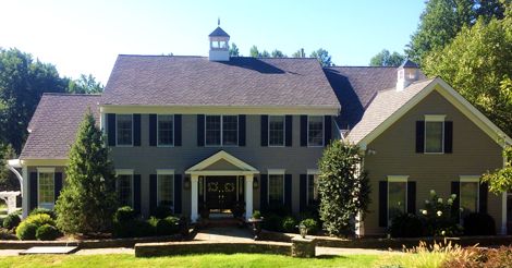 Front view of roofing and solar project