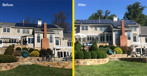 roofing and solar project, before and after