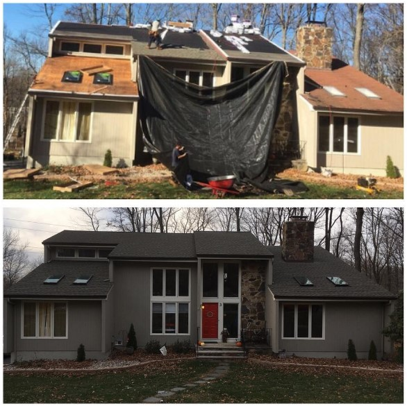 before & after roofing project